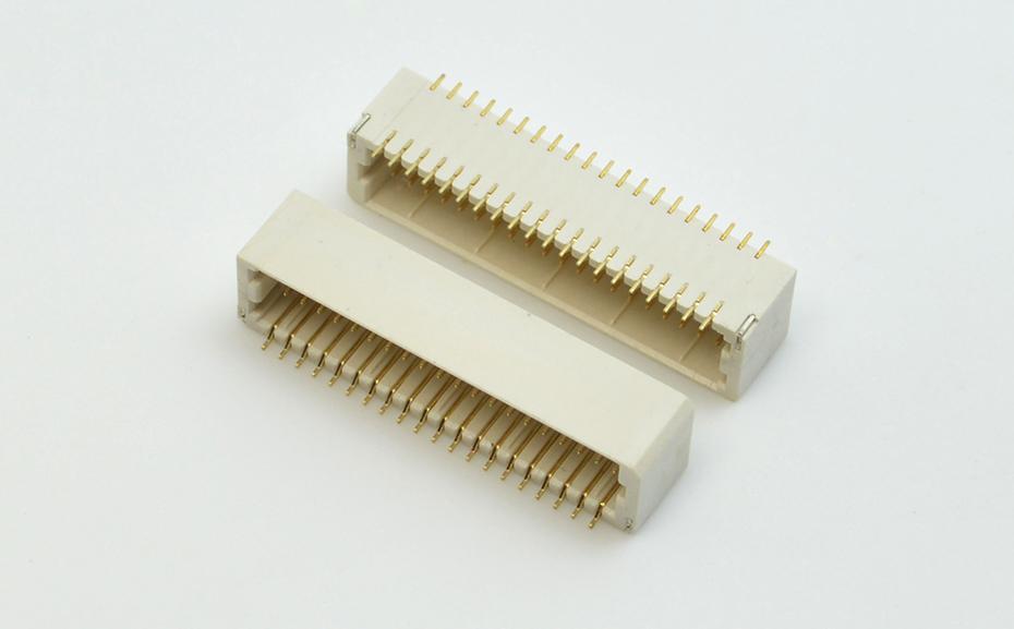 SHD插座1.0间距线对板立贴针座双排镀金端子连接器H5.5高
