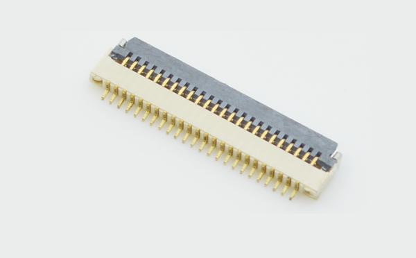 FPC0.5mm间距1.0mm厚翻盖式下接连接器插座