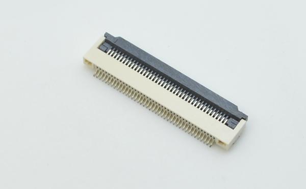 FPC/FFC插座0.5mm间距2.0mm厚翻盖式下接连接器