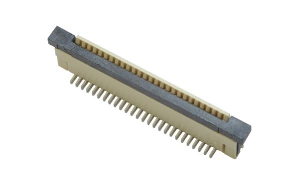 FPC连接器接插件插座间距0.8mm立式贴片带锁一字脚90度